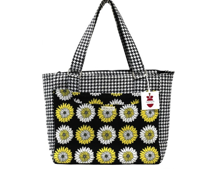 Houndstooth, Floral, Conference Tote, Handbag, Shoulder Bag, Black, White, Yellow, Daisies, Ready to Ship, Mulberry Hill Design