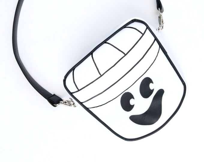 Happy Ghost Face, Halloween Bucket, Crossbody Bag, White, Black, Crossbody Strap, Mulberry Hill Design