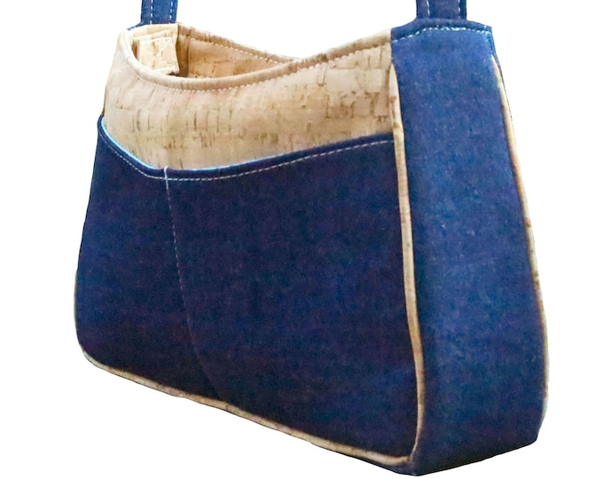 Custom, Design Your Own, Denim Shoulder Bag, Recessed Zipper, Front Pockets, Mulberry Hill Design