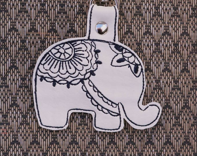 Mandala Elephant, Keychain, Bag Bling, Bag Tags, Key Fobs, Snap Tabs, Bag Accessories, Backpack Bling, Ready to Ship, Mulberry Hill Design