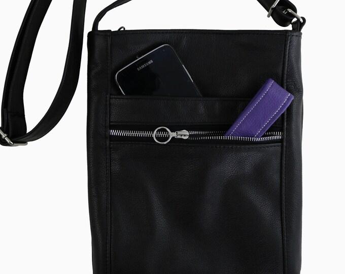 Crossbody Bag, Black, Top Grain Leather, Two-Zip Hipster Bag, Shoulder Bag, Purse, Pockets