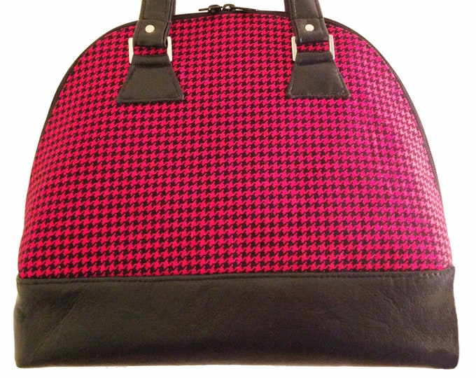 Custom, Design Your Own, Domed Satchel, Bowler Bag, Handbag, Shoulder Bag, Double Slider Zipper, Leather, Cork, Vinyl, Canvas, Cotton