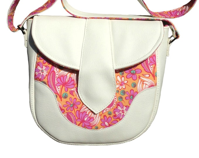 Sale! Crossbody/Shoulder Bag, Tula Pink fabric, White Vinyl, Swoon Dollie Maxi Size, Ready to Ship