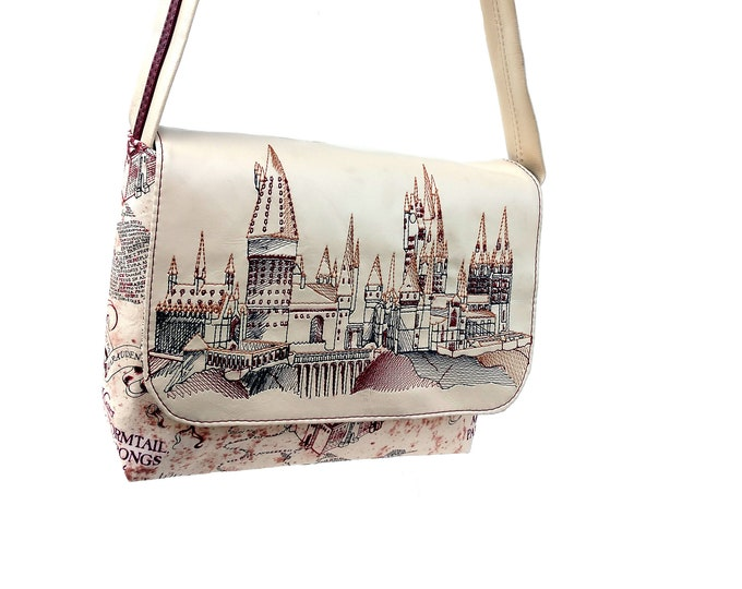 Hogwarts Marauders Map Mini Messenger Bag, Small Messenger Bag, Tablet Sized Messenger Bag, Laptop Bag