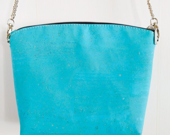 Crossbody Bag, Lulu Crossbody, Cork Crossbody, Turquoise Cork, Ready to Ship, Mulberry Hill Design