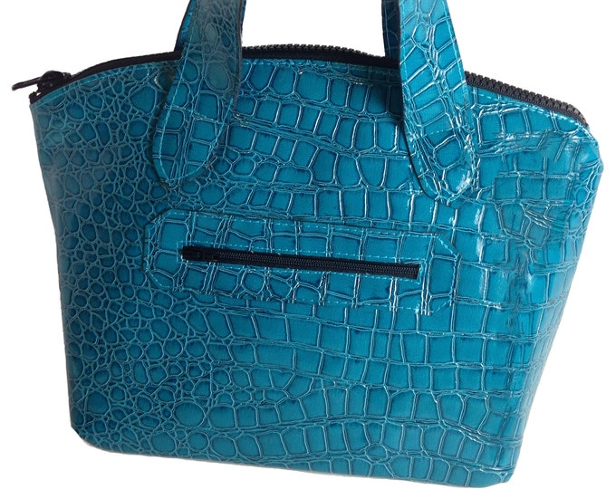 Turquoise Bag, Small Purse/Handbag with Crossbody Strap, Mock Croc Vinyl, Faux Alligator Vinyl, Mulberry Hill Design, Ready to Ship