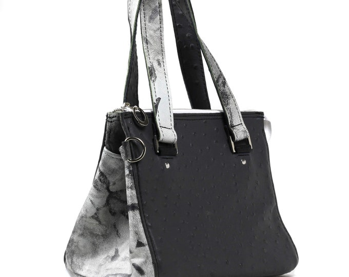 Gray Grunge Leather, Ostrich Texture, Winged Griffin Tote, Handbag Tote, Ready to Ship, Mulberry Hill Design