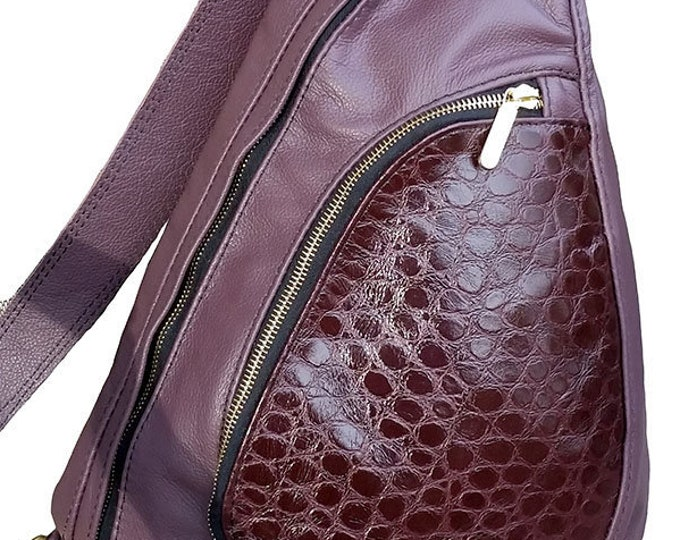 Backpack, Sling Style, Top Grain Leather, Maroon,Riri Zippers, Solid Brass Hardware, Mulberry Hill Design, Custom Stitchcraft