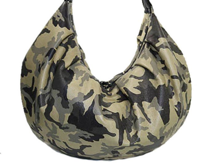 Camo Leather, Slouchy Hobo Bag, Large Hobo Bag, Mulberry Hill Design, Ready to Ship