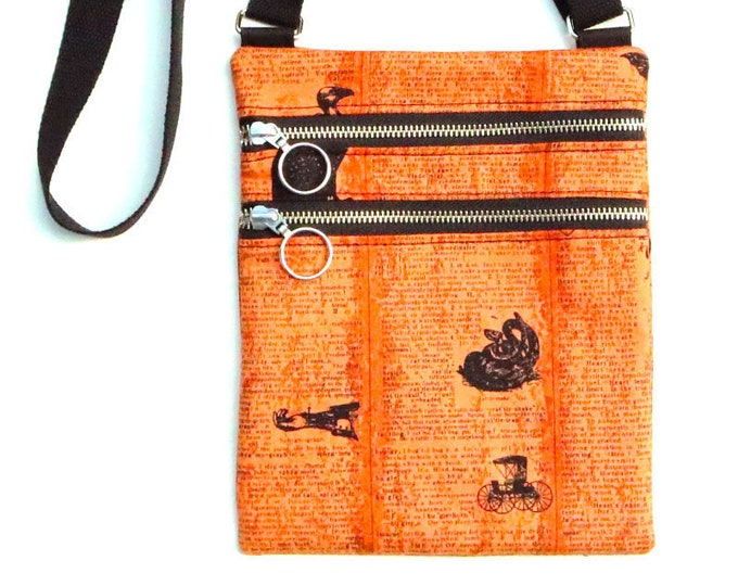 Crossbody Bag, 2 Zippered Sections, Orange and Black, Text Print, Halloween, Small Crossbody, Ready to Ship, Mulberry Hill Design
