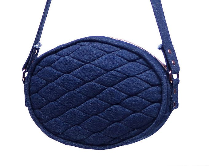 Quilted Oval Blue Denim Crossbody/Shoulder Bag with Copper Zipper and Rivets, Ready to Ship