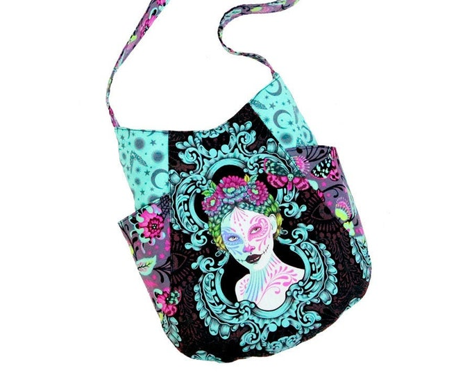 Shoulder Bag, 241 Tote, Hobo Bag, De La Luna, Spirit Sisters, Black, Pink, Purple, Turquoise, Ready to Ship, Mulberry Hill Design