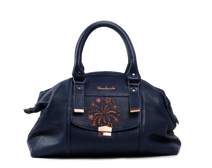 Navy Blue, Top Grain Leather, Weekender Bag, Large Weekender, Outside Pockets, Embroidered, Copper Hardware,Ready to Ship,MulberryHillDesign