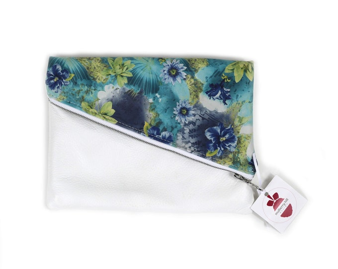 Foldover Clutch, White Leather, Floral Leather, Wedding, Prom, Formal, Cocktail, Evening Bag, Ready to Ship, Mulberry Hill Design