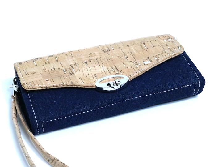Accordion Wallet, Women's Clutch Wallet, Wristlet, Crossbody, Flap, Twist Lock, Custom, NCW, Leather,Cork,Vinyl,Canvas,Cotton,Denim