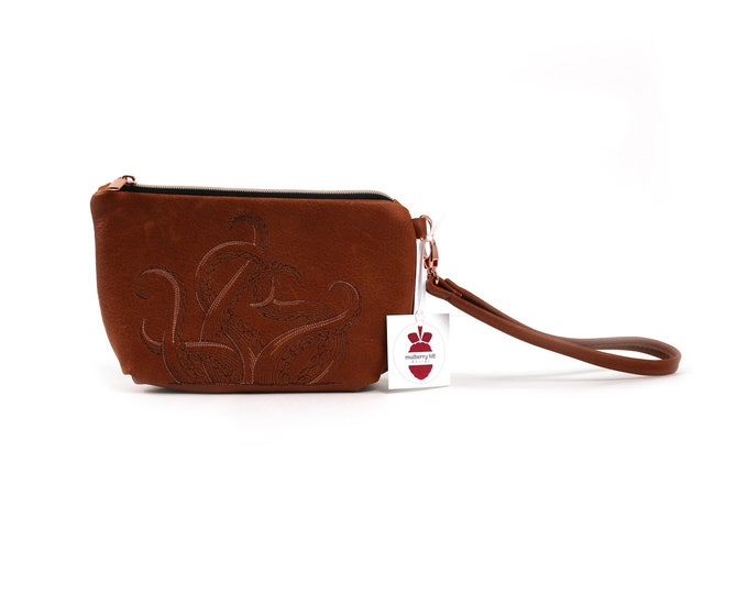 Leather Clutch, Embroidered, Octopus, Tentacles, Caramel Leather, Wristlet Strap, Mulberry Hill Design