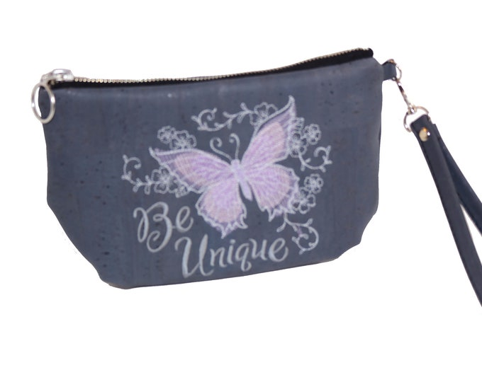 Clutch, Wristlet, Evening Bag, Prom, Bridal, Purse, Cork Fabric, Embroidered, Ready to Ship, Mulberry Hill Design