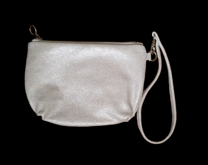 Silver, Glitter Leather, Clutch, Evening Bag, Formal, Wedding, Prom, with Wrist Strap, Ready to Ship, Mulberry Hill Design