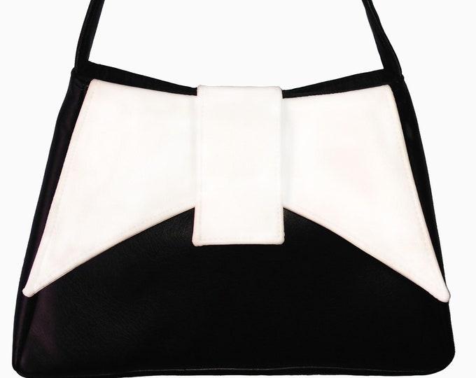 Shoulder Bag, Ava Bow Shaped Flap, Evening Bag, Outside Pockets, Trapeze Bag, Custom Purse, Leather, Cork, Vinyl,Canvas,Mulberry Hill Design