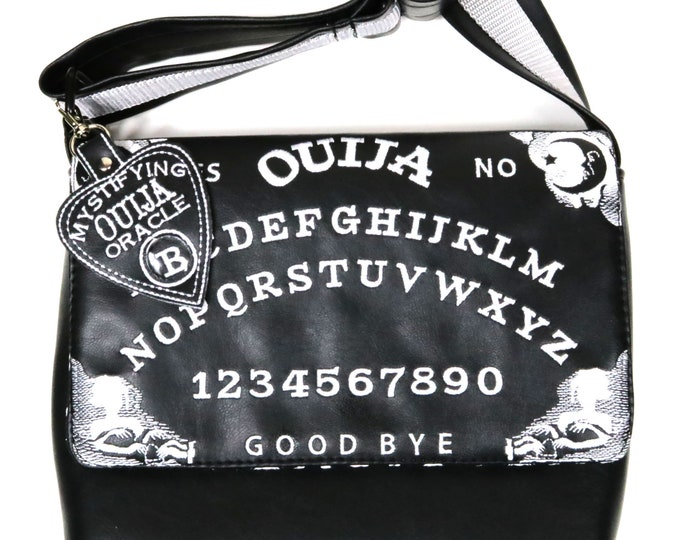 Custom, Design Your Own, Ouija Board, Embroidered Flap, Small Messenger Bag, Adjustable Strap, Exterior Pocket,Planchette Keychain