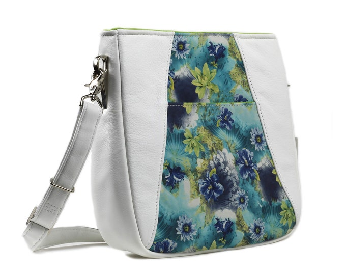 White Leather, Floral Leather, Crossbody, Satchel, Shoulder Bag, Purse, Spring, Ready to Ship, Mulberry Hill Design