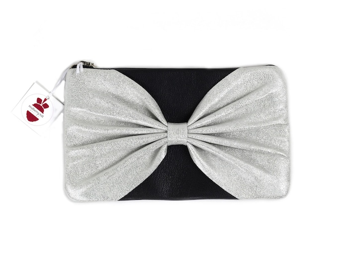 Bow Front Clutch, Glitter Leather, Black Leather, Evening Bag, Bridal Clutch, Prom Clutch, Ready to Ship