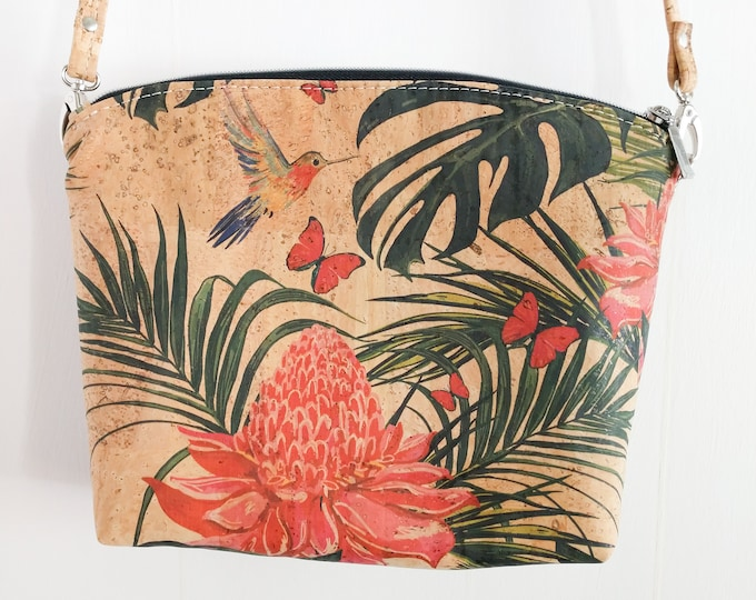 Crossbody Bag, Lulu Crossbody, Cork Crossbody, Floral, Tropical, Ready to Ship, Mulberry Hill Design