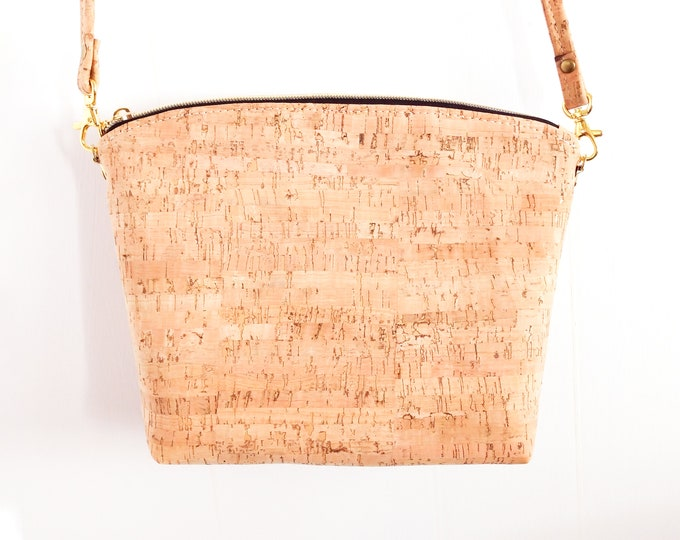 Crossbody Bag, Lulu Crossbody, Cork Crossbody, Natural Cork, Ready to Ship, Mulberry Hill Design