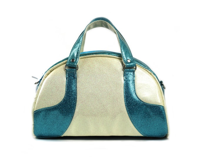 Bowler Bag, Glitter Vinyl, Turquoise, White, Ready to Ship, Mulberry Hill Design