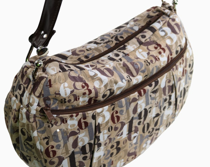 Large Hobo Bag, Brown, Tan, Numbers Fabric, Lots of Pockets, Ready to Ship, Mulberry Hill Design