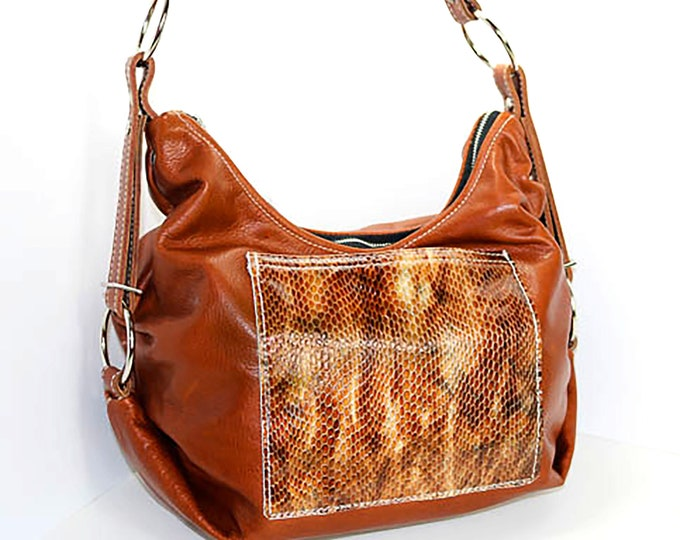 Custom Design Your Own Leather Slouchy Hobo Bag with Top Zip Closure