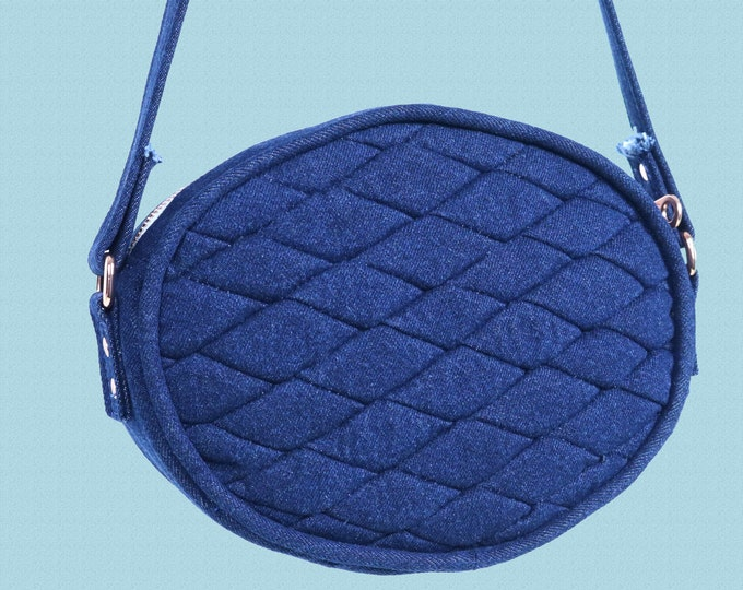 Denim Shoulder Bag, Blue Denim Quilted Crossbody Bag, Copper Hardware, Oval Crossbody Bag, Mulberry Hill Design, Customizable