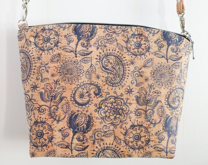 Crossbody Bag, Lulu Crossbody, Cork Crossbody, Blue Paisley Floral, Ready to Ship, Mulberry Hill Design