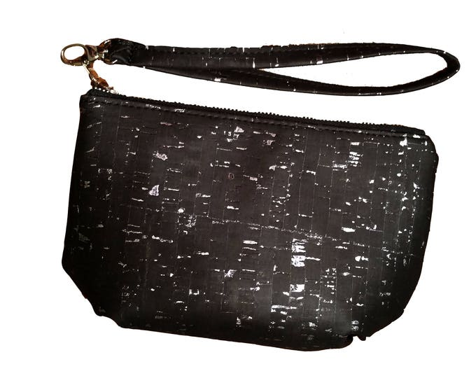 Clutch, Wristlet, Evening Bag, Prom, Bridal, Purse, Black Cork Fabric, Silver Metallic, Ready to Ship, Mulberry Hill Design