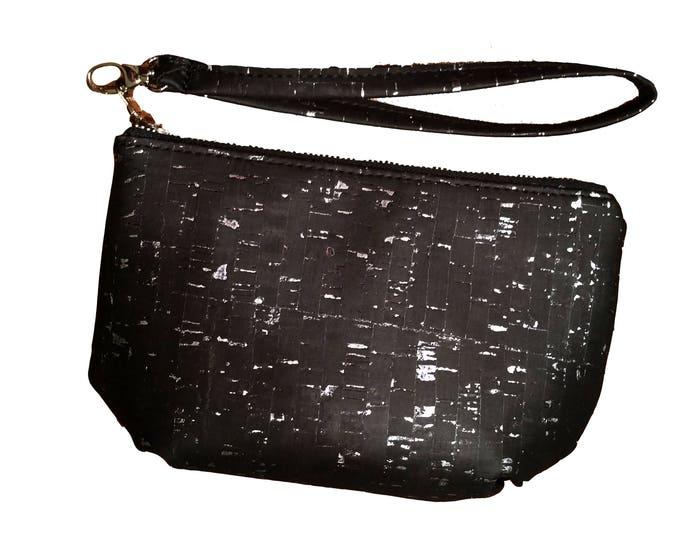 Clutch, Wristlet, Evening Bag, Prom, Bridal, Purse, Black Cork Fabric, Silver Metallic, Ready to Ship, Mulberry Hill Design