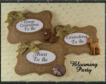 Safari baby shower corsagesmommy and daddy to be setbaby shower guest pinsBaby shower