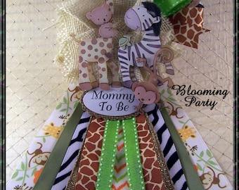 Safari Baby Shower Corsage Safari  Mommy To Be Baby Shower Corsage Safari Theme Corsage
