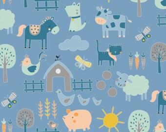 NEW!! Nursery Fat Quarter Bundle - Fabric by the Yard - Nursery Quilting Fabric - Baby Quilt Fabric - Cluck Moo Oink - Farm in Blue