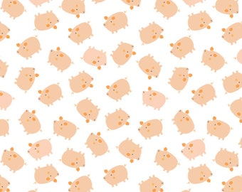 NEW!! Nursery Fat Quarter Bundle - Fabric by the Yard - Nursery Quilting Fabric - Baby Quilt Fabric - Cluck Moo Oink - Pigs in White