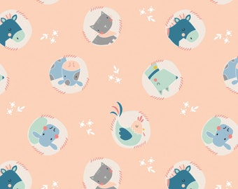 NEW!! Nursery Fat Quarter Bundle - Fabric by the Yard - Nursery Quilting Fabric - Baby Quilt Fabric - Cluck Moo Oink - Animals in Peach