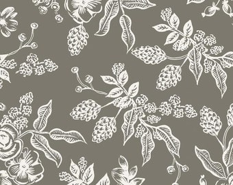 PREORDER - Fabric by the Yard - Rifle Paper Co - Fat Quarter Bundle - Modern Quilt Fabric - Cotton+Steel - English Garden - Toile in Gray