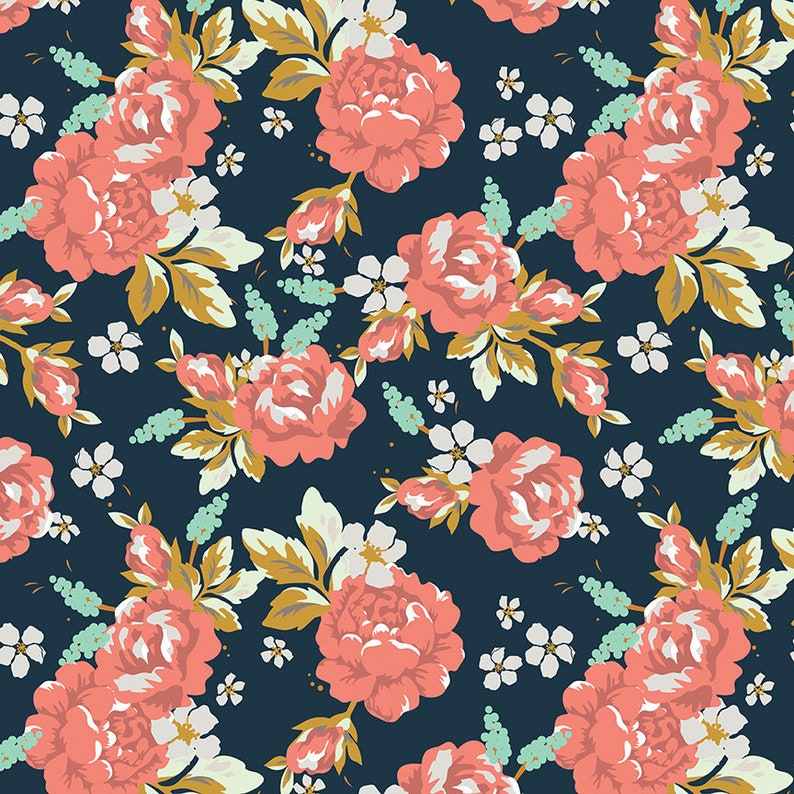 Golden Days by Fancy Pants Designs for Riley Blake PREORDER Floral Fabric SHIPS AugSept 2019 Golden Days Floral Navy