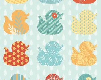 NEW!! - Nursery Fabric by the Yard - Fat Quarter Bundle - Baby Quilt Fabric - Green Nursery Fabric -Studioe - Ducky Tales - Row Of Ducks