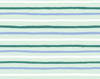 PREORDER - Fabric by the Yard - Rifle Paper Co - Fat Quarter Bundle - Modern Quilt Fabric - Cotton+Steel - English Garden - Stripes in Mint