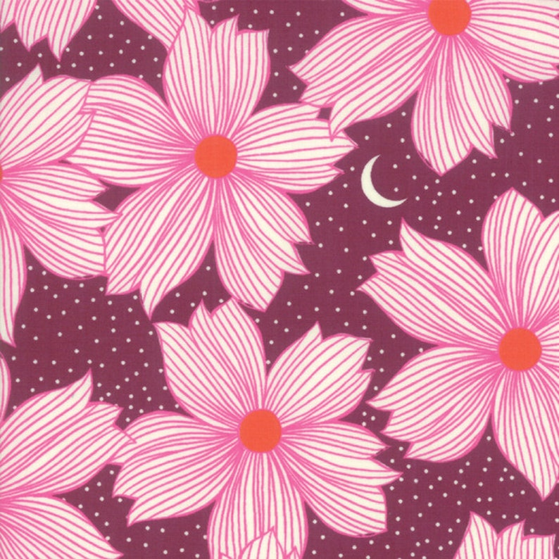 Crescent Floral Night Bloom Soft Blue Crescent from Ruby Star Society by Sarah Watts PREORDER Ships AugSept 2019