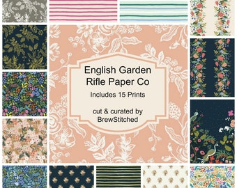 PREORDER - Fat Quarter Bundle - Fabric by the Yard - Rifle Paper Co - Modern Quilt Fabric - Cotton+Steel - English Garden - 15 Prints