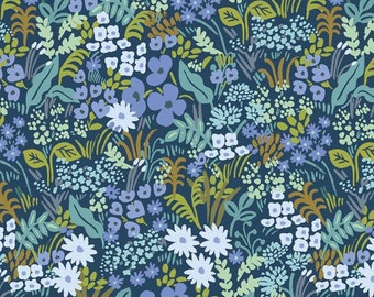 PREORDER - Fabric by the Yard - Rifle Paper Co - Fat Quarter Bundle - Modern Quilt Fabric - Cotton+Steel - English Garden - Meadow in Blue