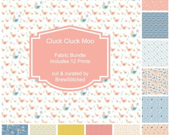 NEW!! Nursery Fat Quarter Bundle - Fabric by the Yard - Nursery Quilting Fabric - Baby Quilt Fabric - Cluck Moo Oink - Animals in Light Blue
