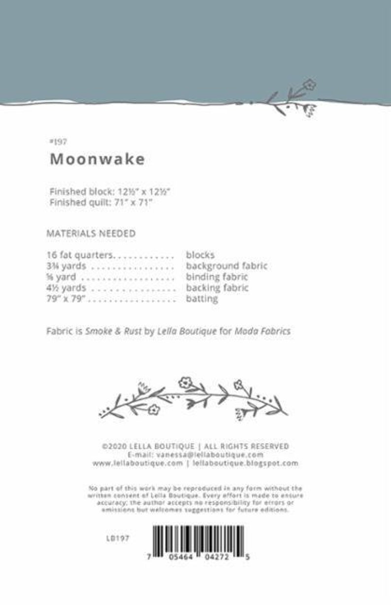 Expected April 2021 PREORDER Smoke and Rust Moonwake by Lella Boutique Quilt Kit