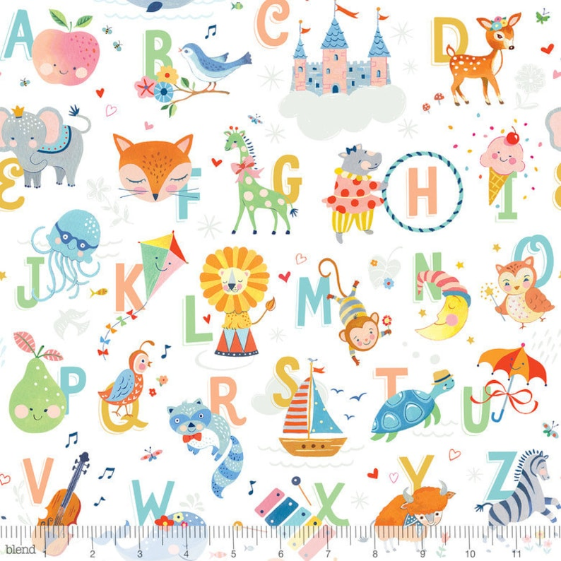 Story Time from Blend Fabrics Sold by Half Yd -SHIPS July 2019 Nursery Fabric by the Yard PREORDER Story Time Apple of My Eye Orange